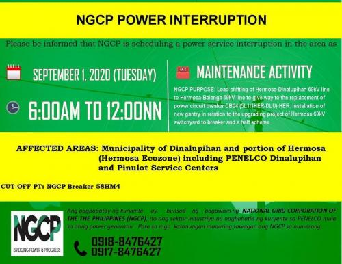 NGCP Power Interruption September 1, 2020